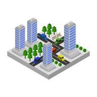 isometrische stad geïllustreerd in vector op witte achtergrond
