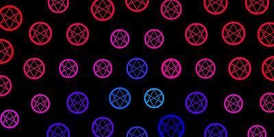 donkerroze vector textuur met religie symbolen.