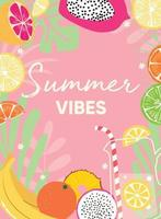 fruitontwerp met zomerse vibes typografieslogan en vers fruit en limonade