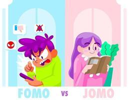 fomo en jomo cartoon afbeelding vector