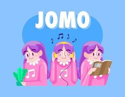 jomo cartoon illustratie, vreugde om iets te missen vector