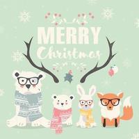 vrolijk kerstfeest belettering met hipster ijsberen, vossen en konijn vector
