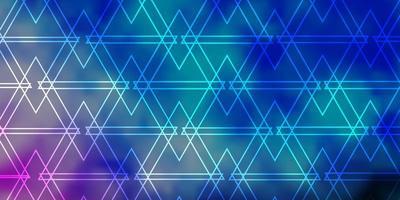 lichtblauwe, groene vectorachtergrond met lijnen, driehoeken. vector