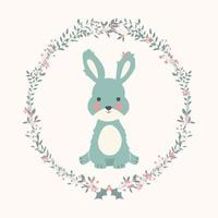 schattige baby konijn in kerst bloem en tak krans
