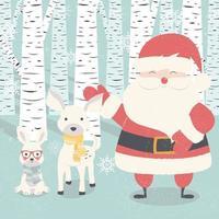 vrolijke kerstkaart met de kerstman, herten, konijn in het bos vector