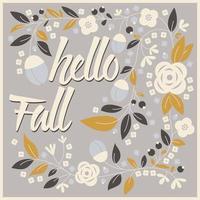 herfstkaartontwerp met bloemenkader en typografiebericht