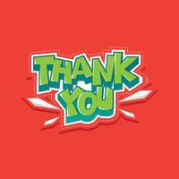 Dank u typografie sticker Vector