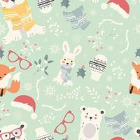 naadloze vrolijke kerstpatronen met schattige pooldieren, beren, konijnen, vector