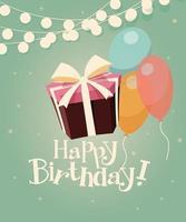 verjaardag achtergrond met cadeautjes en ballonnen vector