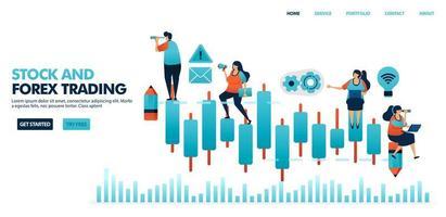 kaarsgrafiek in forex trading, aandelen, onderlinge fondsen, grondstoffen, valuta. mensen zien de prestaties van het bedrijf om een emittent te kiezen in gemengde beleggingen. menselijke illustratie voor website, mobiele apps, poster vector