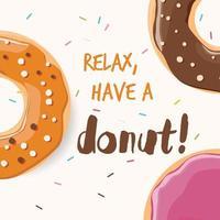 posterontwerp met kleurrijke glanzende smakelijke donuts vector