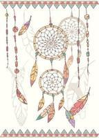 handgetekende Indiaanse dromenvanger, kralen en veren