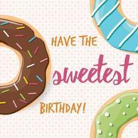 verjaardagskaart met kleurrijke glanzende smakelijke donuts vector