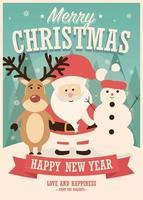 vrolijke kerstkaart met de kerstman, rendieren en sneeuwpop op winter achtergrond vector