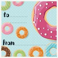 verjaardagskaartontwerp met kleurrijke glanzende smakelijke donuts vector