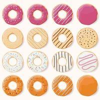 verzameling van zestien geglazuurde kleurrijke donuts met verschillende smaken vector