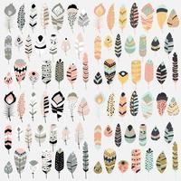 verzameling van boho vintage tribal etnische hand getrokken kleurrijke veren