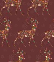 naadloze patroon met decoratieve kerst rendieren met sneeuwvlokken