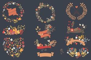 hand getekend vintage bloemen en florale elementen voor bruiloften, Valentijnsdag, verjaardagen en feestdagen vector