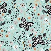 naadloze patroon met bloemen, florale elementen en vlinders, natuurleven vector