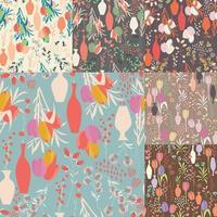 verzameling van zeven vector naadloze patronen met florale elementen, lentebloemen, tulpen, lelies en vazen
