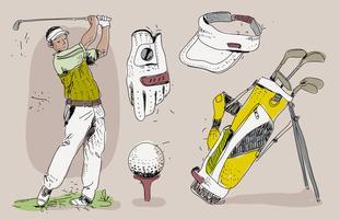 Vintage Golf speler Essensials Hand getrokken vectorillustratie