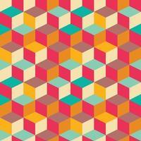 geometrisch naadloos patroon met kleurrijke vierkanten in retro ontwerp