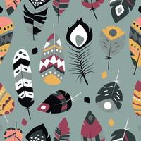 naadloze patroon met boho vintage tribal etnische kleurrijke levendige veren vector