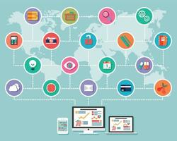 verzameling van platte design iconen, computer en mobiele apparaten, cloud computing, communicatie vector