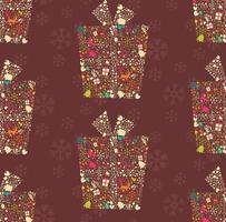 naadloze patroon met decoratieve kerst geschenkdoos met rendieren, sneeuwvlokken en bloemen