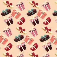 achtergrond met kleurrijke geschenkdozen met strikken en linten in verschillende vormen, naadloos patroon