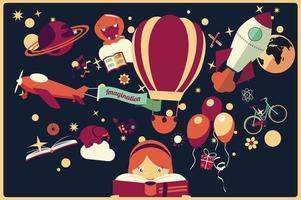 verbeelding concept - meisje leest een boek met luchtballon, raket en vliegtuig vliegen