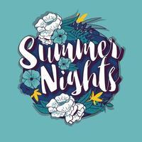 zomeravonden typografie banner om ontwerp in tropische bloem frame, vectorillustratie