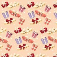 achtergrond met kleurrijke geschenkdozen met strikken en linten in verschillende vormen, naadloos patroon vector