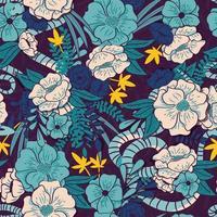 bloemenjungle met slangen naadloos patroon
