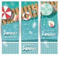 drie verticale banners met zwembad, bovenaanzicht, tropische zomervakantie vector