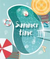 zwembad, bovenaanzicht, zomervakantie