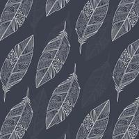 naadloze patroon met vintage tribal etnische hand getrokken kleurrijke veren vector