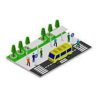 isometrische bushalte op witte achtergrond