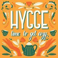 hygge concept. hand belettering Scandinavische folk motieven ontwerp vector