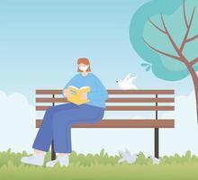 mensen met medisch gezichtsmasker, vrouwenleesboek op bankje in het park, stadsactiviteit tijdens coronavirus vector