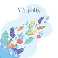 verse groenteningrediënten die in de slakom vallen