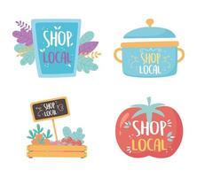 ondersteuning van lokale bedrijven, winkel kleine markt, bord kookpot producten verse pictogrammen vector