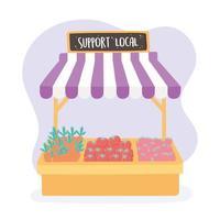 ondersteuning van lokale bedrijven, winkel fruit en groenten die op de boerenmarkt worden verkocht vector