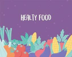 groenten vers gezond voedsel maïs aubergine wortel tomaat paarse achtergrond vector