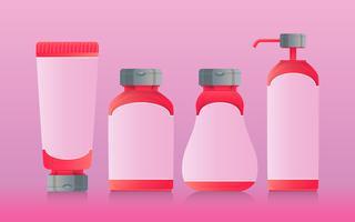 Rose goud flessen en of cosmetica realistische afbeelding instellen