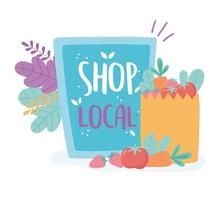 ondersteuning van lokale bedrijven, winkel kleine markt, karton en papieren zak met voedsel vector