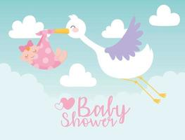 babydouche, ooievaar die klein meisje in deken draagt, welkom pasgeboren vieringskaart vector