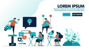 werkplekontwerp voor millennials. coworking space of een moderne werkplek. kantoor opstarten om ideeën te vinden. platte vectorillustratie voor bestemmingspagina, web, website, banner, mobiele apps, flyer, poster, ui