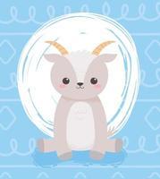 schattige kleine geit zittend dierlijk beeldverhaal